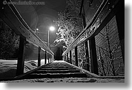 america, black and white, horizontal, nite, north america, park city, slow exposure, snow, stairs bw, united states, utah, western usa, photograph