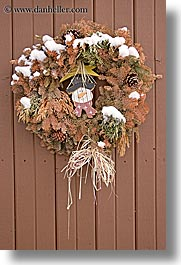 america, christmas, north america, park city, snow, united states, utah, vertical, western usa, wreath, photograph