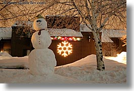 america, christmas, horizontal, nite, north america, park city, snow, snowman, trees, united states, utah, western usa, photograph