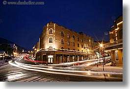 america, buildings, horizontal, long exposure, motion blur, nite, north america, park ave, park city, snow, streets, united states, utah, western usa, photograph