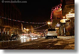 america, buildings, horizontal, nite, north america, park ave, park city, slow exposure, snow, streets, united states, utah, western usa, photograph