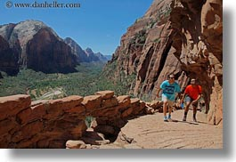america, angels landing trail, cliffs, hikers, horizontal, mountains, nature, north america, paths, united states, utah, valley, western usa, zion, photograph