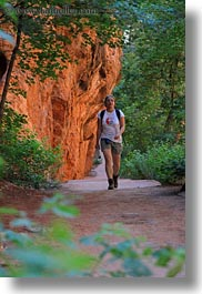 america, angels landing trail, canyons, hikers, nature, north america, paths, rocks, slot canyon, trees, united states, utah, vertical, walls, western usa, zion, photograph