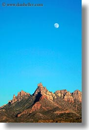 america, landscapes, moon, mountains, north america, united states, utah, vertical, western usa, zion, photograph