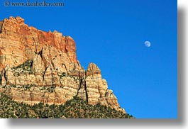 america, horizontal, landscapes, moon, mountains, north america, united states, utah, western usa, zion, photograph