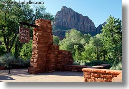 america, entrance, horizontal, miscellaneous, north america, signs, united states, utah, western usa, zion, photograph