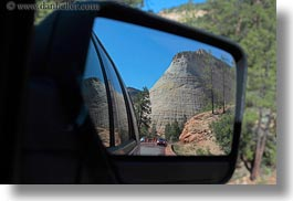 america, checkerboard, horizontal, mirrors, mountains, north america, united states, utah, western usa, zion, photograph