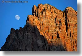 america, horizontal, moon, mountains, north america, united states, utah, western usa, zion, photograph