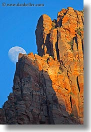 america, moon, mountains, north america, united states, utah, vertical, western usa, zion, photograph