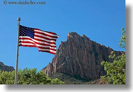 america, american, flags, horizontal, mountains, north america, united states, utah, western usa, zion, photograph