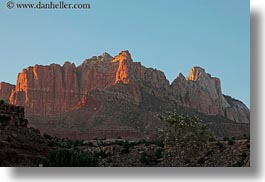 america, buttes, horizontal, mountains, north america, sunsets, united states, utah, western usa, zion, photograph