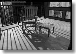 america, black and white, chairs, horizontal, nite, north america, shadows, united states, utah, western usa, zion, photograph