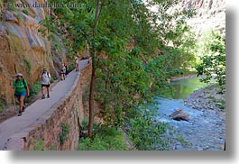 america, hikers, horizontal, lush, nature, north america, people, trails, united states, utah, western usa, zion, photograph