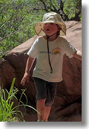 america, boys, childrens, hats, jacks, north america, people, united states, utah, vertical, western usa, zion, photograph