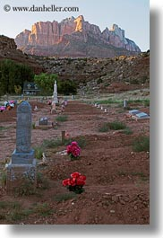 america, graves, mountains, north america, rockville cemetery, sunsets, united states, utah, vertical, western usa, zion, photograph