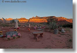 america, graves, horizontal, mountains, north america, rockville cemetery, sunsets, united states, utah, western usa, zion, photograph