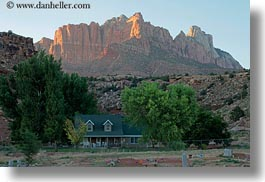 america, horizontal, houses, mountains, north america, rockville cemetery, sunsets, united states, utah, western usa, zion, photograph