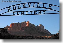 america, cemeteries, horizontal, north america, rockville, rockville cemetery, signs, united states, utah, western usa, zion, photograph