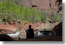 america, horizontal, men, north america, rivers, silhouettes, united states, utah, virgin river, western usa, zion, photograph