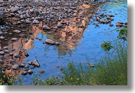 america, horizontal, north america, reflections, stones, united states, utah, virgin river, water, western usa, zion, photograph