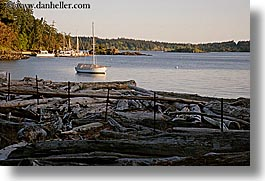bay, boat, orcas island, logs, washington, united states, photograph