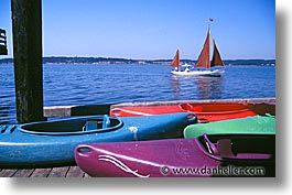 america, horizontal, kayaks, north america, pacific northwest, port angeles, sailboats, united states, washington, western usa, photograph