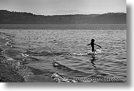 america, black and white, horizontal, north america, ocean, pacific northwest, port angeles, united states, wading, washington, western usa, photograph