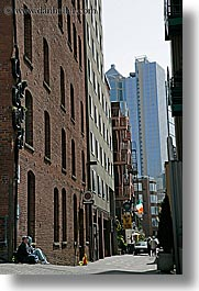 america, bricks, buildings, north america, pacific northwest, seattle, steel, structures, united states, vertical, washington, western usa, photograph