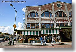 america, buildings, corner, horizontal, market, north america, pacific northwest, seattle, shops, structures, united states, washington, western usa, photograph