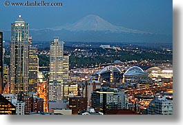 america, buildings, cityscapes, dusk, horizontal, mountains, nature, nite, north america, pacific northwest, rainier, seattle, slow exposure, snowcaps, structures, united states, washington, western usa, photograph