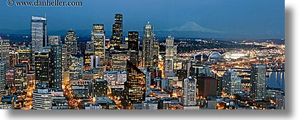 america, buildings, cityscapes, dusk, horizontal, long exposure, mountains, nature, nite, north america, pacific northwest, panoramic, rainier, seattle, snowcaps, structures, united states, washington, western usa, photograph