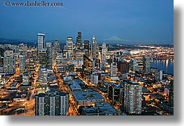 america, buildings, cityscapes, dusk, horizontal, long exposure, mountains, nature, nite, north america, pacific northwest, rainier, seattle, snowcaps, structures, united states, washington, western usa, photograph