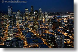 america, buildings, cityscapes, horizontal, nite, north america, pacific northwest, seattle, slow exposure, structures, united states, washington, western usa, photograph