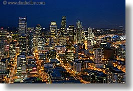 america, buildings, cityscapes, horizontal, long exposure, nite, north america, pacific northwest, seattle, structures, united states, washington, western usa, photograph