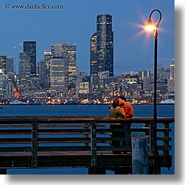 activities, america, buildings, cityscapes, couples, emotions, kissing, lamp posts, long exposure, nite, north america, pacific northwest, piers, romantic, seattle, square format, structures, united states, washington, western usa, photograph