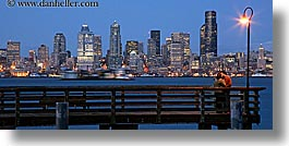 activities, america, buildings, cityscapes, couples, emotions, horizontal, kissing, lamp posts, long exposure, nite, north america, pacific northwest, piers, romantic, seattle, structures, united states, washington, western usa, photograph