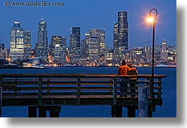 america, buildings, cityscapes, couples, emotions, horizontal, lamp posts, long exposure, nite, north america, pacific northwest, piers, romantic, seattle, structures, united states, washington, western usa, photograph