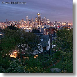 america, buildings, cityscapes, houses, long exposure, nite, north america, pacific northwest, seattle, space needle, square format, structures, united states, washington, western usa, photograph