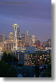 america, buildings, cityscapes, houses, long exposure, nite, north america, pacific northwest, seattle, space needle, structures, united states, vertical, washington, western usa, photograph