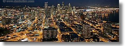 america, buildings, cityscapes, horizontal, nite, north america, pacific northwest, panoramic, seattle, slow exposure, structures, united states, washington, western usa, photograph