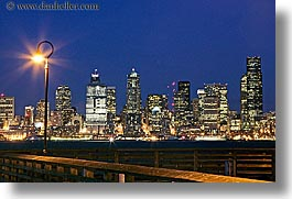 america, buildings, cityscapes, horizontal, lamp posts, long exposure, nite, north america, pacific northwest, piers, seattle, structures, united states, washington, western usa, photograph