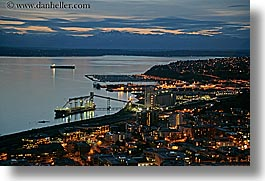 america, buildings, cityscapes, harbor, horizontal, mountains, nature, nite, north america, pacific northwest, seattle, slow exposure, structures, towns, united states, washington, western usa, photograph