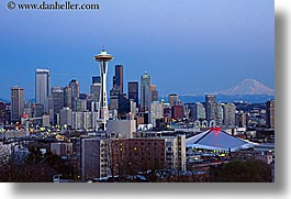 america, buildings, cityscapes, dusk, horizontal, nite, north america, pacific northwest, seattle, space needle, structures, united states, washington, western usa, photograph