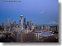 america, buildings, cityscapes, dusk, horizontal, moon, nite, north america, pacific northwest, seattle, space needle, structures, united states, washington, western usa, photograph