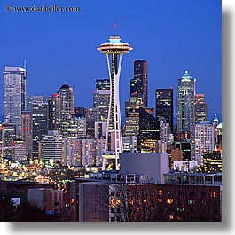america, buildings, cityscapes, nite, north america, pacific northwest, seattle, space needle, square format, structures, united states, washington, western usa, photograph