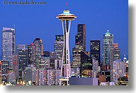 america, buildings, cityscapes, horizontal, nite, north america, pacific northwest, seattle, space needle, structures, united states, washington, western usa, photograph