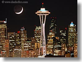 america, buildings, cityscapes, horizontal, moon, nite, north america, pacific northwest, seattle, space needle, structures, united states, washington, western usa, photograph