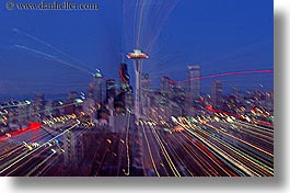 america, buildings, cityscapes, horizontal, nite, north america, pacific northwest, seattle, space needle, structures, united states, washington, western usa, zoom, photograph