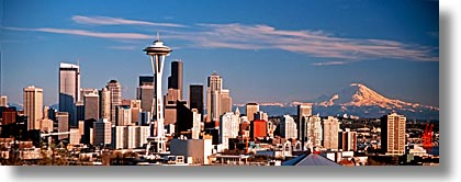 america, buildings, cityscapes, horizontal, mountains, nature, north america, pacific northwest, panoramic, rainier, seattle, snowcaps, space needle, structures, united states, washington, western usa, photograph