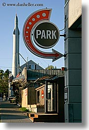 america, arts, fremont, north america, pacific northwest, park, rocket, sculptures, seattle, signs, united states, vertical, washington, western usa, photograph